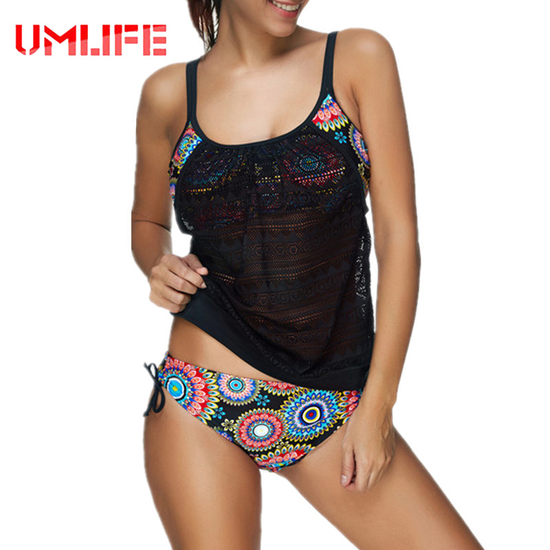UMLIFE 2017 New Plus Size Swimwear Women Swimsuit Sexy Tankini Retro Vintage Print Bathing Suit Swim Summer Beach Wear 3XL umlife 2017 new plus size swimwear women swimsuit sexy tankini retro vintage print bathing suit swim summer beach wear 3xl