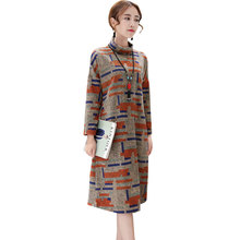 Long sleeve Tunic Winter Dress Women Knitted Plus size Long Middle aged Sweater Vestidos 2018 Loose