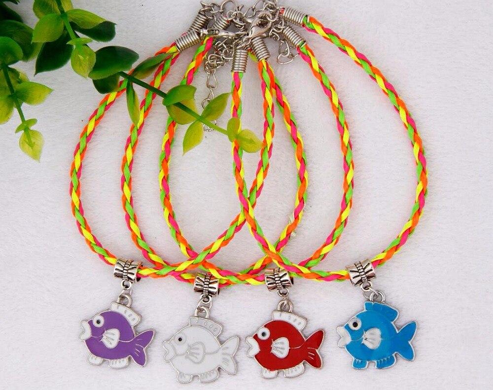 50 pcs chaude en alliage de Zinc goutte glaçure beau poisson pendentif à breloque 20 CM couleur tressé corde Bracelet de mode bijoux pour femmes et hommes J376