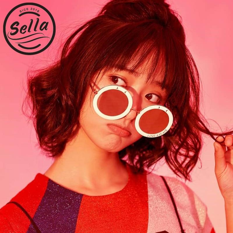 Sella 2018 Retro Fashion Round Mirror Lens Sunglasses Brand Designer Smile Hollow Out Letters Film Coating Sun Glasses Wear