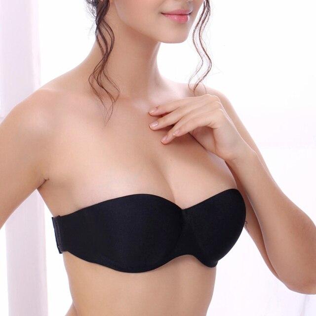 283528dce126 DeRuiLaDy Fashion Strapless Bras Seamless Push Up Bras Half Cup Underwire  Back Closure Women Underwear Invisible Bra