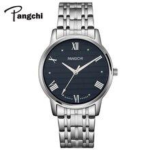 PANGCHI бренд Для мужчин женские римские цифры смотреть Водонепроницаемый Нержавеющаясталь Кварцевые наручные часы Повседневное пара Часы Montre Femme