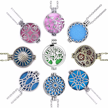 Aroma Open Antique Vintage Photo Locket Pendant Perfume Essential Oil Aromatherapy Diffuser Necklace Locket Necklace With Pad