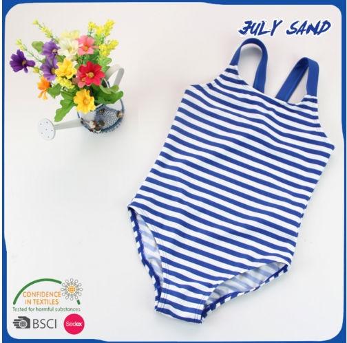 JULY SAND baby Girl's kids children swimwear one piece swimsuit with navy blue striped print