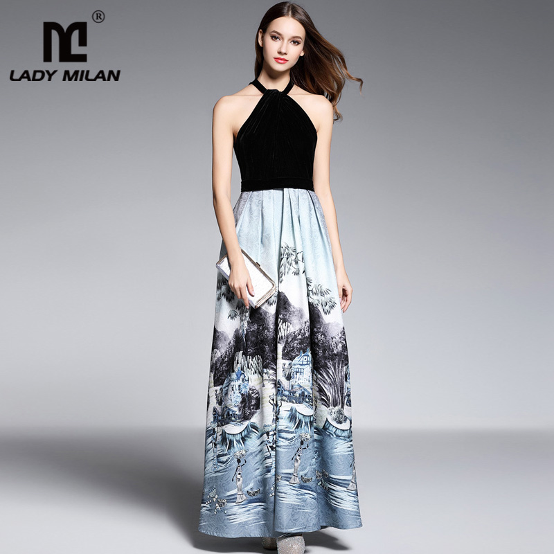 New Arrival 2018 Womens Halt Sexy Sleeveless Velour Bodice Patchwork Character Printed Ruched Jacquard Prom Fashion Long Dress