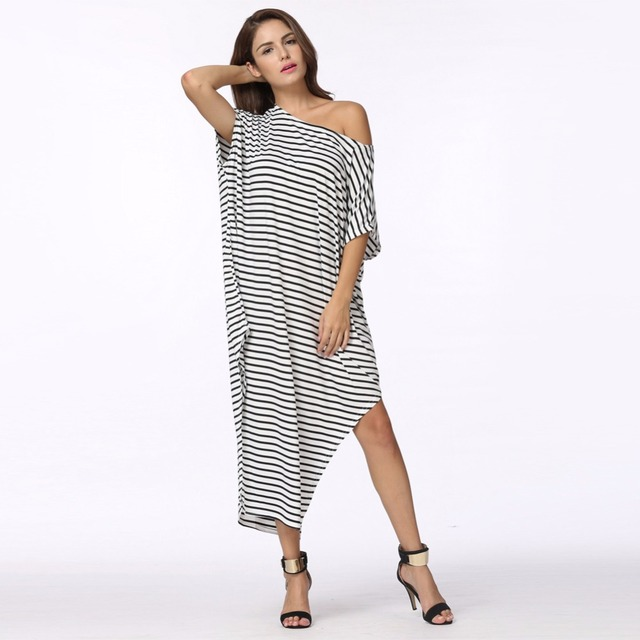 buy popular 6251e 77aed US $9.84 41% OFF|2019 frauen Sommer Kleid Lange Maxi Lose Kleid Striped  Batwing Ärmel Off schulter Split Casual Strand Tragen Plus Größe vestidos  in ...