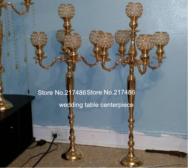 About 30 Days Sent Order100cm Large And Tall Wedding Gold Crystal Global Candelabra Centerpiececandle Holder For Table