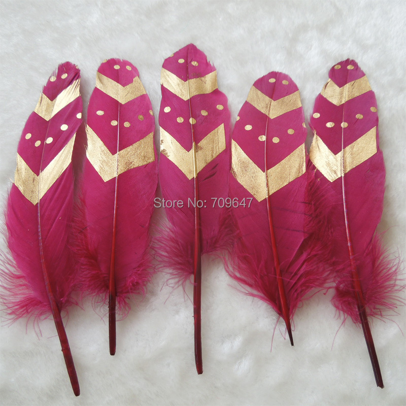 50Pcs/lot!13-20cm-Wine Red Goose Satinettes Feathers with Double Gold Arrow&Dot Painting-Perfect for Earrings,Bridal Table