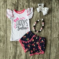 Wholesale Fashion Spring Summer Girl Boutique Baby Flutter Sleeve Tops Floral Shorts Daddy S Sunshine Clothing