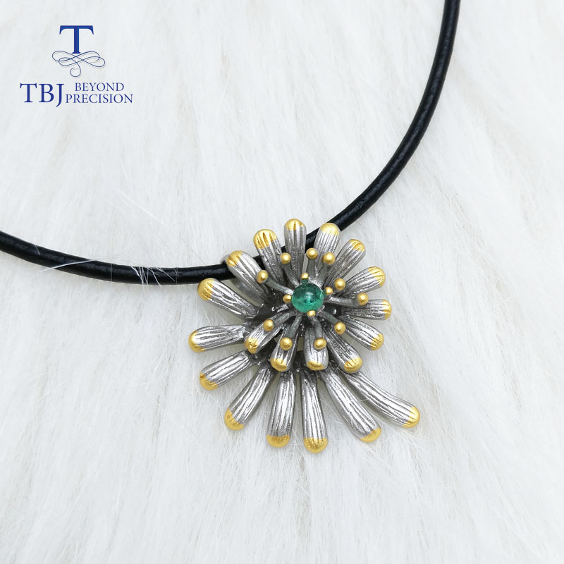 TBJ,Unique nice flower pendant with natural Zambia emerald 925 sterling silver gemstone jewelry anniversary wedding party gift