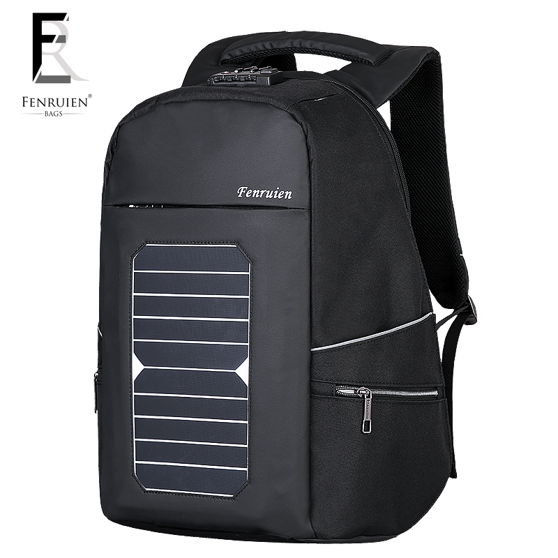 FRN 5.3V Solar Powered Backpack Anti theft Men Women Waterproof Travel Backpack Laptop Business Usb Charging Daypack with Lock men s backpack anti theft usb charging travel backpack waterproof nylon unisex school bags for female laptop business backpack
