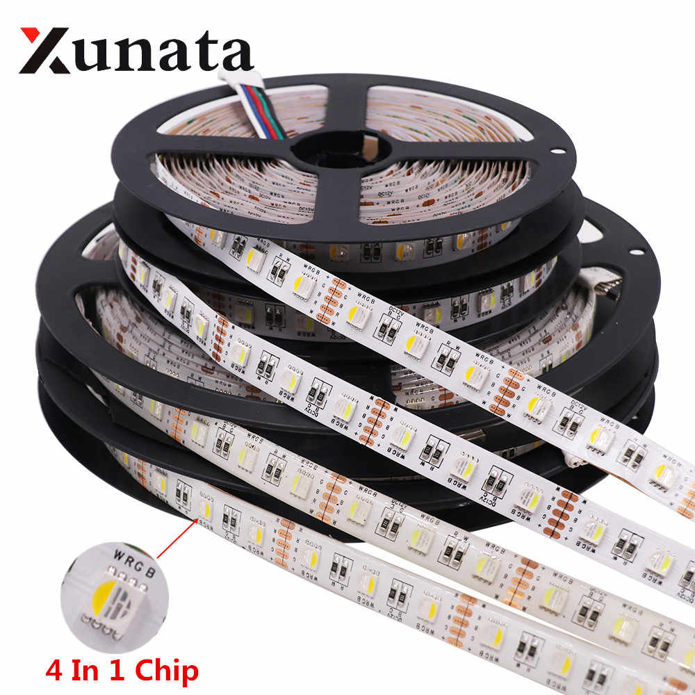 RGBW Rgbww 4 In 1 Chip LED Strip Tahan Air DC12V 24V SMD 5050 60LED/M 5 M/ roll LED Strip Lampu Lampu untuk Dekorasi Rumah