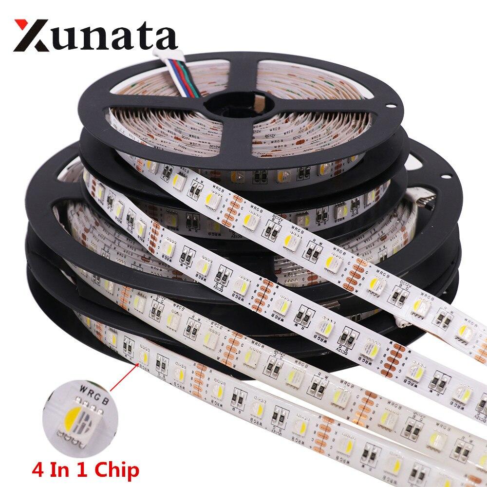 RGBW RGBWW 4 In 1 Chip LED Strip Waterproof  DC12V 24V SMD 5050 60LED/m 5m/Roll LED Strip Light Lamp For Home Decoration