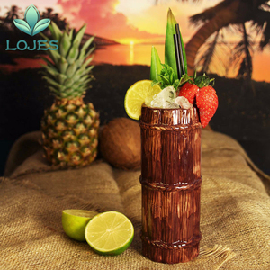 Image 3 - New 470ml Hawaii Tiki Mugs Cocktail Cup Beer Beverage Mug Wine Mug Ceramic Bamboo Tiki Mug