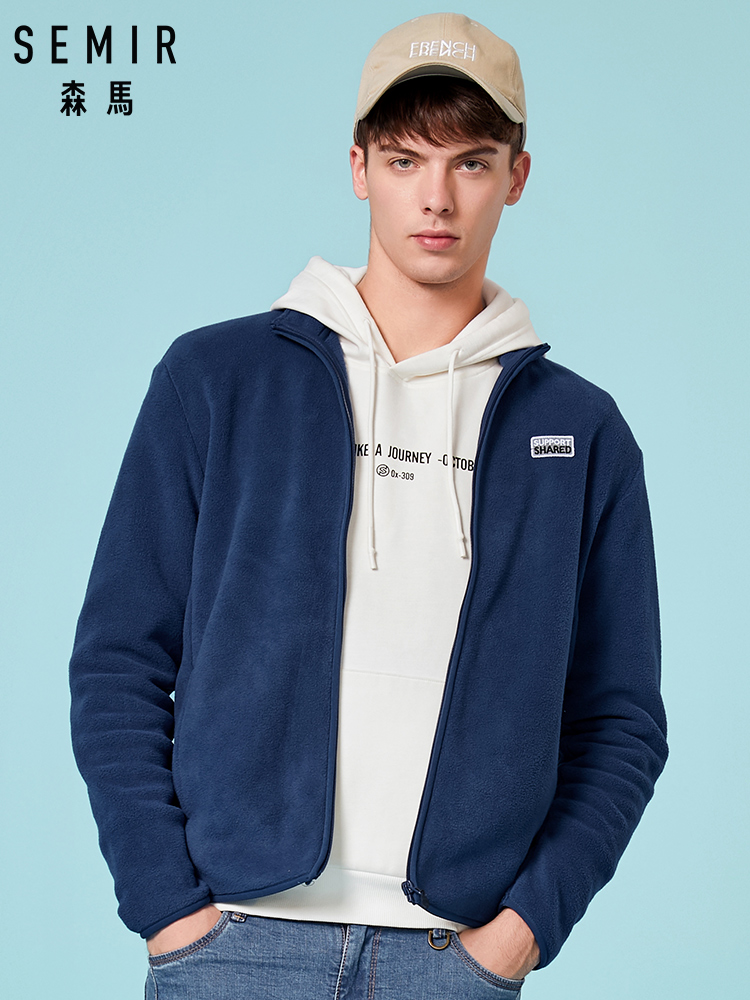SEMIR Men Fleece Long-Sleeve Full-Zip Jacket Mens Stand-up Collar Jacket Man Casual Jacket With Zip Winter Outwear Clothes