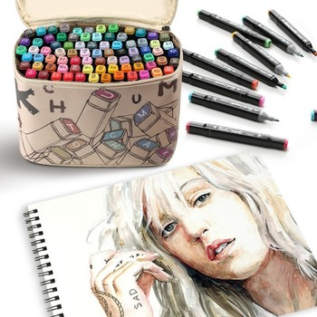 touchmark 30/40/60/80 Color Dual Head Art Marker Set Alcohol Sketch Markers Pen for Artist Drawing Manga Design Art Supplier touchnew 30 40 60 80 168 colors artist dual head sketch markers set for manga marker school drawing marker pen design supplies