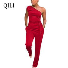 QILI One Shoulder Jumpsuits Women Rompers Summer Casual Fashion Boot Cut Long Pants Jumpsuit White Black Blue Red Yellow Overall