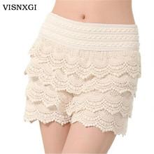 Hot Sale Korean Fashion Womens Sweet Cute Crochet Tiered Lace Mini Skirt Pants 2014 women shorts