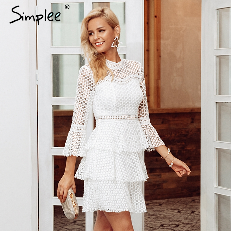 4746ad27a0e3 ... Simplee Elegant Lace hollow out sexy bodycon women dresses Ruffle flare  sleeve mesh dress winter Vintage ...