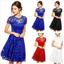 Plus Size Dress Women Elegant Sweet Hallow Out Lace Dress Sexy Party Princess Slim Summer Dresses Vestidos Red Blue NS8985(China)