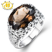 Hutang Huge Natural Smoky Quartz Filigree Cocktail Ring Solid Sterling Silver 925 Gemstone Fine Jewelry