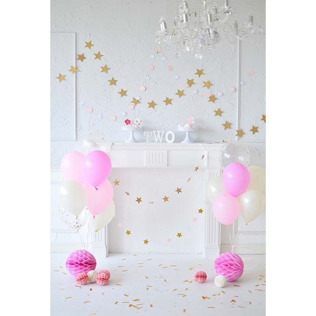 White Wall Floor Photography Backdrops Pink Balloons Childs Two Birthday Party Backgrounds For Studio Photo Shoot Photophone