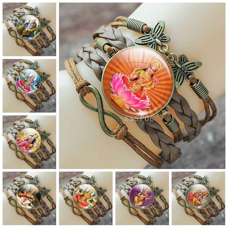 Lakshmi Goddess Bracelet Art Picture Glass Cabochon Multi-layer Leather Bracelet Hinduism Amulet Jewelry Gift for Women