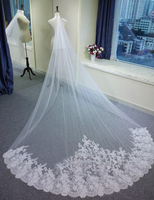 Free Shipping Beautiful White/Ivory Wedding Veil High Quality new Fashion Bridal Veils with comb Lace Wedding Accessories China