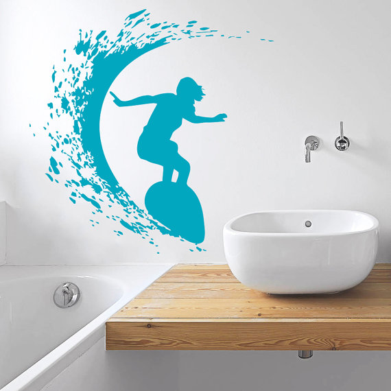 Woman Surfer Surfing On Sea Extreme Sport Series Wall