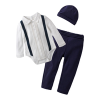 Newborn Baby Clothing Sets 2019 Autumn Baby Boys Clothes Toddler Infant Rompers + Trousers +Hat 3Pcs/Set Kids Outfits