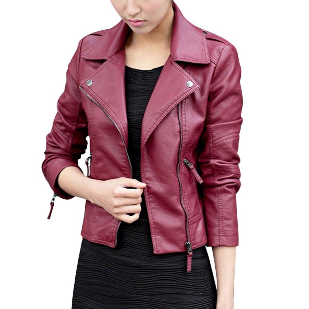 2017 jesienno-kobiet czarny szczupły koreański styl PU faux leather - Ubrania Damskie - Zdjęcie 4