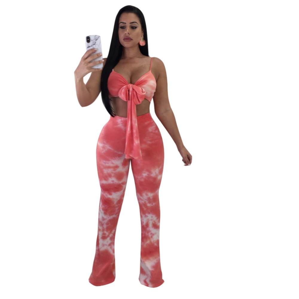 Fashion sexy sets for women 2018 new arrival Tie-dye printed spaghetti strap lace up short top+long boot cut pants 2 piece set