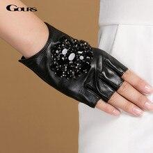 Gours Winter Echtem Leder Handschuhe Frauen Mode Marke Schwarz Stein Fahren Finger Handschuhe Damen Ziegenleder Handschuhe GSL040