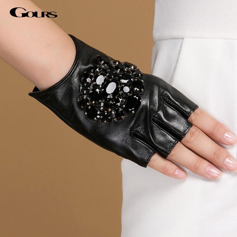 Gours Winter Genuine Leather Gloves Women Fashion Brand Black Stone Driving Fingerless Gloves Ladies Goatskin Mittens GSL040