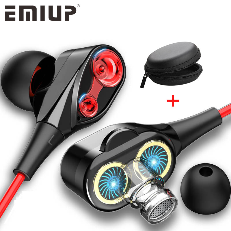 EMIUP Dual Drive Stereo Wired In-ear Earbuds Bass Earphones For IPhone 3.5mm With Mic
