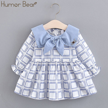 Humor Bear Clothing Girls Dress 2019 Spring New Cotton Doll Collar Bow Long Sleeve Party Dress Plaid infant Baby Girls Clothes