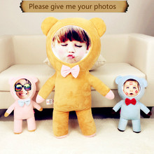 Provide photo Bear naked doll cushion Real human pillows Christmas decorations  diy gift Birthday Valentines Day Personality