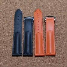 Высокое качество Силиконовой резины ремешки для наручных часов черный оранжевый 20 мм с серебряный Развертывания Пряжка для спортивные часы мужчины женщины аксессуары