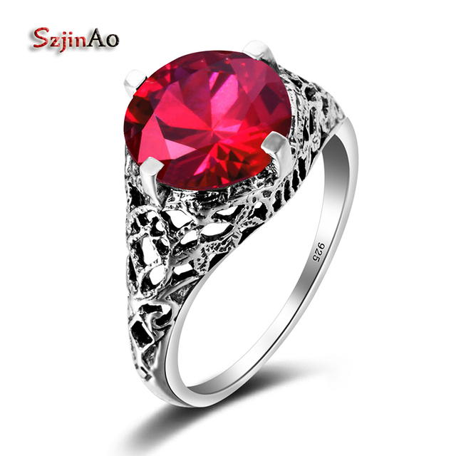 Szjinao Handmade Famous Brand Women Rings Round Red Ruby Wedding 925