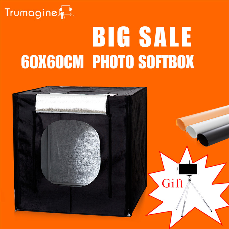 60*60*60CM  LED Photo Studio Light Tent Shooting Softbox Photography Light Box + Portable Bag + Dimmer Switch AC adapter 60