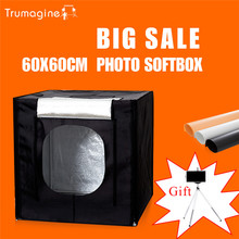 60*60*60CM  LED Photo Studio Light Tent Shooting Softbox Photography Light Box + Portable Bag + Dimmer Switch AC adapter