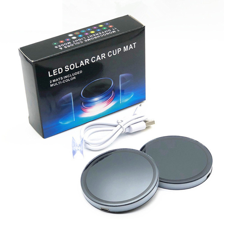 Image 4 - 2PCS Car LED Light Cup Holder Bottom Pad 7 Colors Auto USB Ambient Light Atmosphere Lamp for All Car Anti Slip Mat Auto Products-in Drinks Holders from Automobiles & Motorcycles