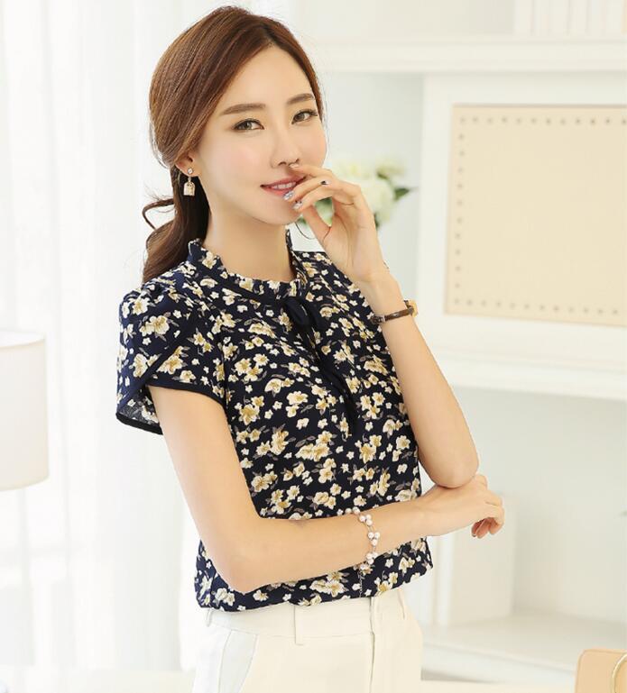 HTB1cCYvQXXXXXXoaXXXq6xXFXXXG - Floral Print Chiffon Blouse Collar Short Sleeve Women
