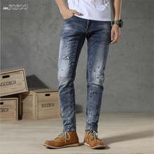 New Men Jeans Fashion Classic paint Denim Jeans Men High Quality European and American style Men Jeans Pants #TC042