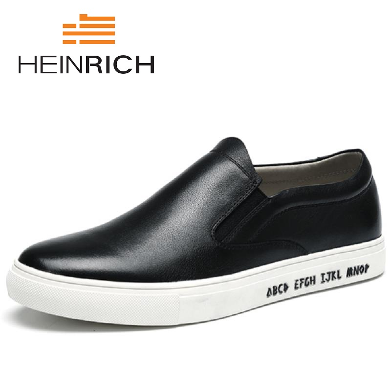HEINRICH Spring Autumn Luxury Brand Men Shoes Leather Casual Black Shoes Men Fashion Sneakers Classic Shoes Men Scarpa UomoHEINRICH Spring Autumn Luxury Brand Men Shoes Leather Casual Black Shoes Men Fashion Sneakers Classic Shoes Men Scarpa Uomo