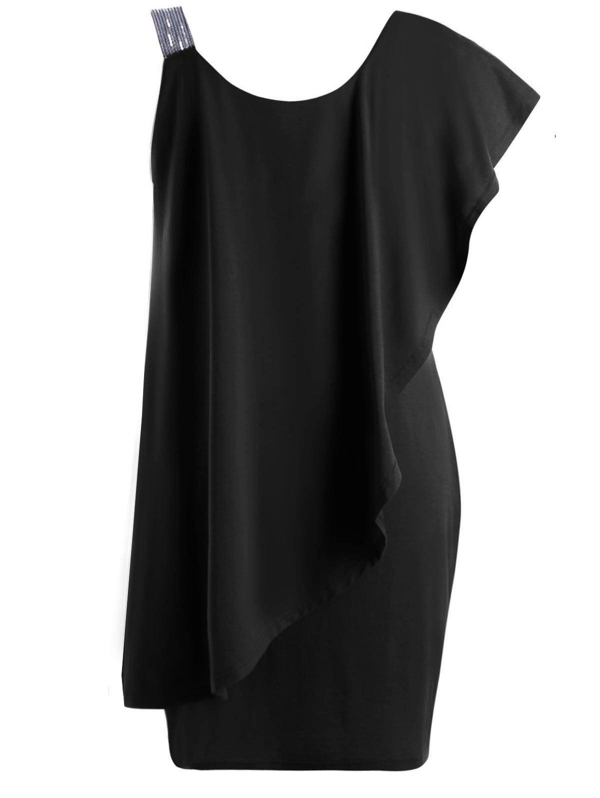2247fcfa15c81 Gamiss 2018 Women Office Lady Dress Big Plus Size One Shoulder Flounce Mini  Dresses Casual Short Sleeves Bodycon Dress