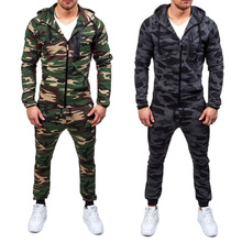 ZOGAA 2019 New Men Fashion 2 Parts Hooded Sweatshirt and Pants Set Mens Suit Sports Outdoor Fitness Camouflage Sets