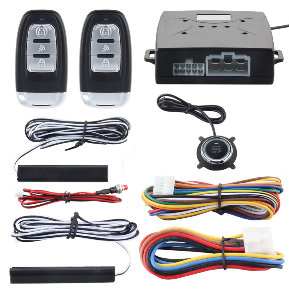 Quality Rolling code smart key PKE car alarm system with push button start stop remote engine start stop passive keyless entry kowell hopping code pke car alarm system w passive keyless entry remote engine start stop push button power ignition switch