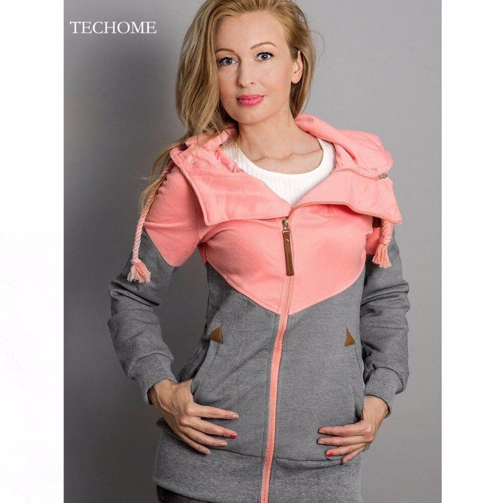 2018 New Fashion Women Early Spring Hoodies Sweatshirts Long Hooded Casual Patchwork Hoodies Pullover Female Zipper Sweatshirts