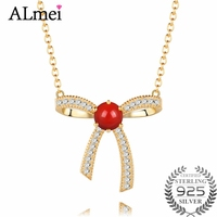 Almei Ladies 1 5ct Bowknot Coral Chain Necklaces 925 Sterling Silver Gold Plated Women Stackable Fine